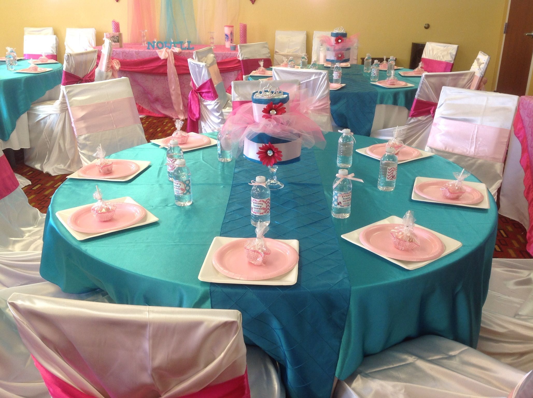pink hot pink and turquoise baby shower it s a girl baby rh pinterest com
