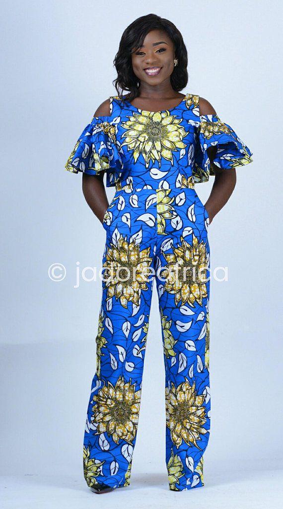 e1a9c4cfad0 African print jumpsuit   Ankara jumpsuit   Wide leg pants   Blue african  print jumpsuit   Blue ankar