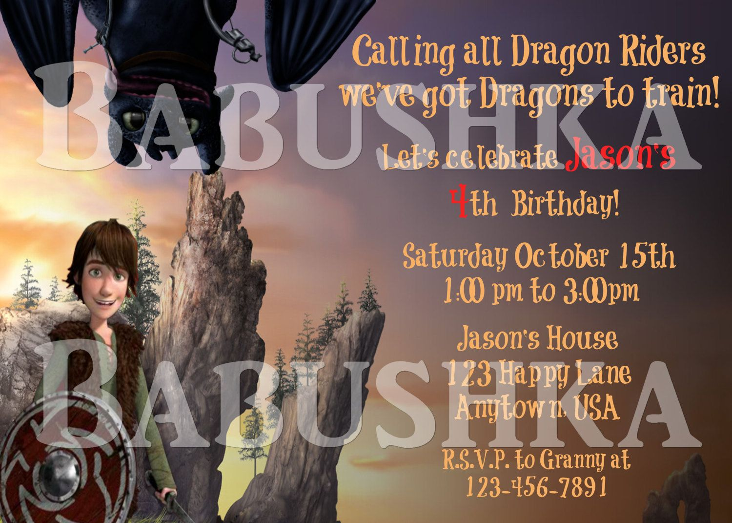 happy birthday invitation pictures%0A Birthday Invitation  How to Train your Dragon Style    Hiccup the Dragon  and Flynn