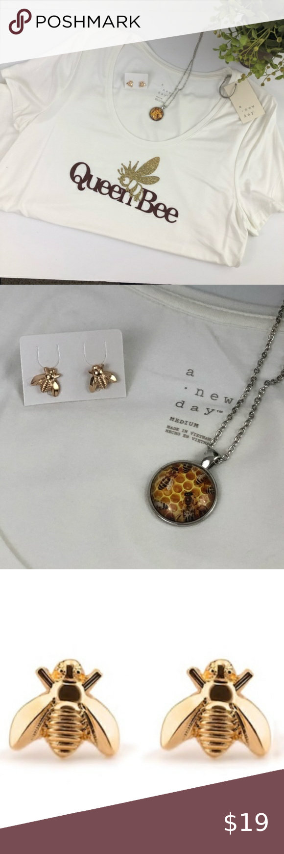 Photo of NEW Bundle Gold Queen Bee Shirt Necklace Earrings Dainty Bee Stud Earrings. Gold…