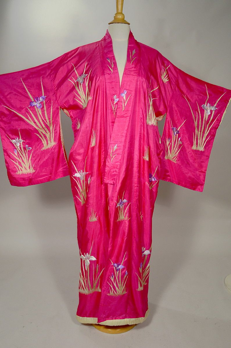 SHOCKING PINK VINTAGE SILK KIMONO - INTRICATELY EMBROIDERED IRIS MOTIF.  Available for sale at rpvintage.com. SOLD