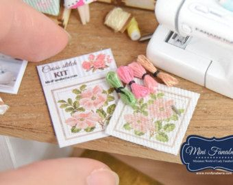Cross Stitch KIT embroidery needlework set -  miniature handmade Dollhouse 12th, sewing room, craft, decoration