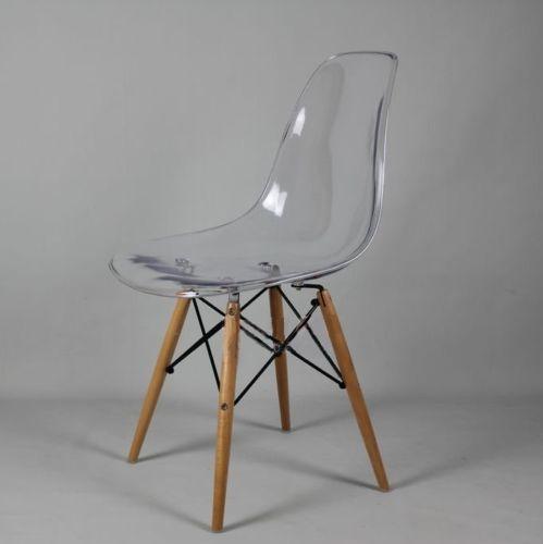 New Dsw Wooden Legs Eames Panton Ghost Style Chair Clear Transparent Seat Chaises Claires Chaise Transparente Chaise De Salle A Manger