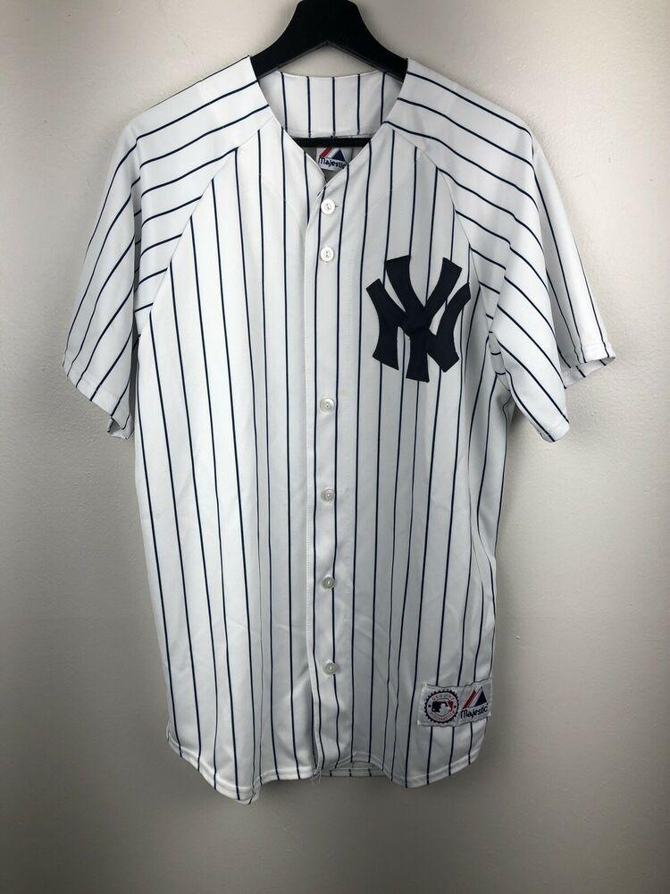9242e77ad Majestic MLB Baseball New York Yankees #2 Derek Jeter Pinstripe Jersey Size  L | eBay
