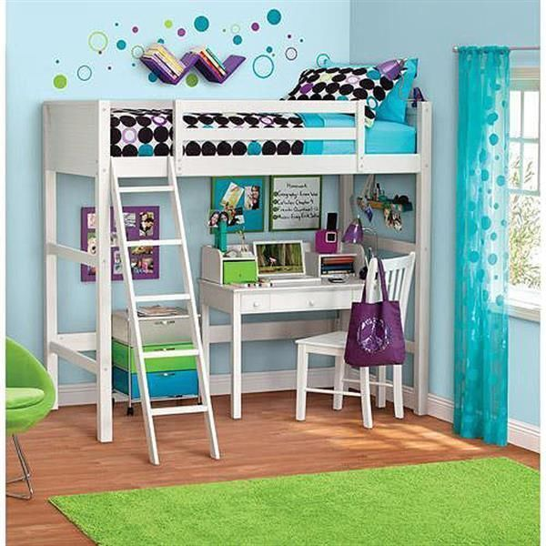 Twin Size Loft Bunk Bed with Ladder over Desk Kids Wood Furniture