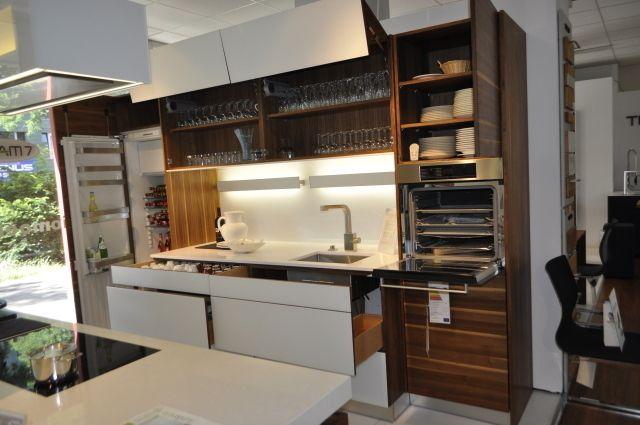 Küche Team 7 Hubblock K7 + Küchezeile Linee Nussbaum 236582-48 +
