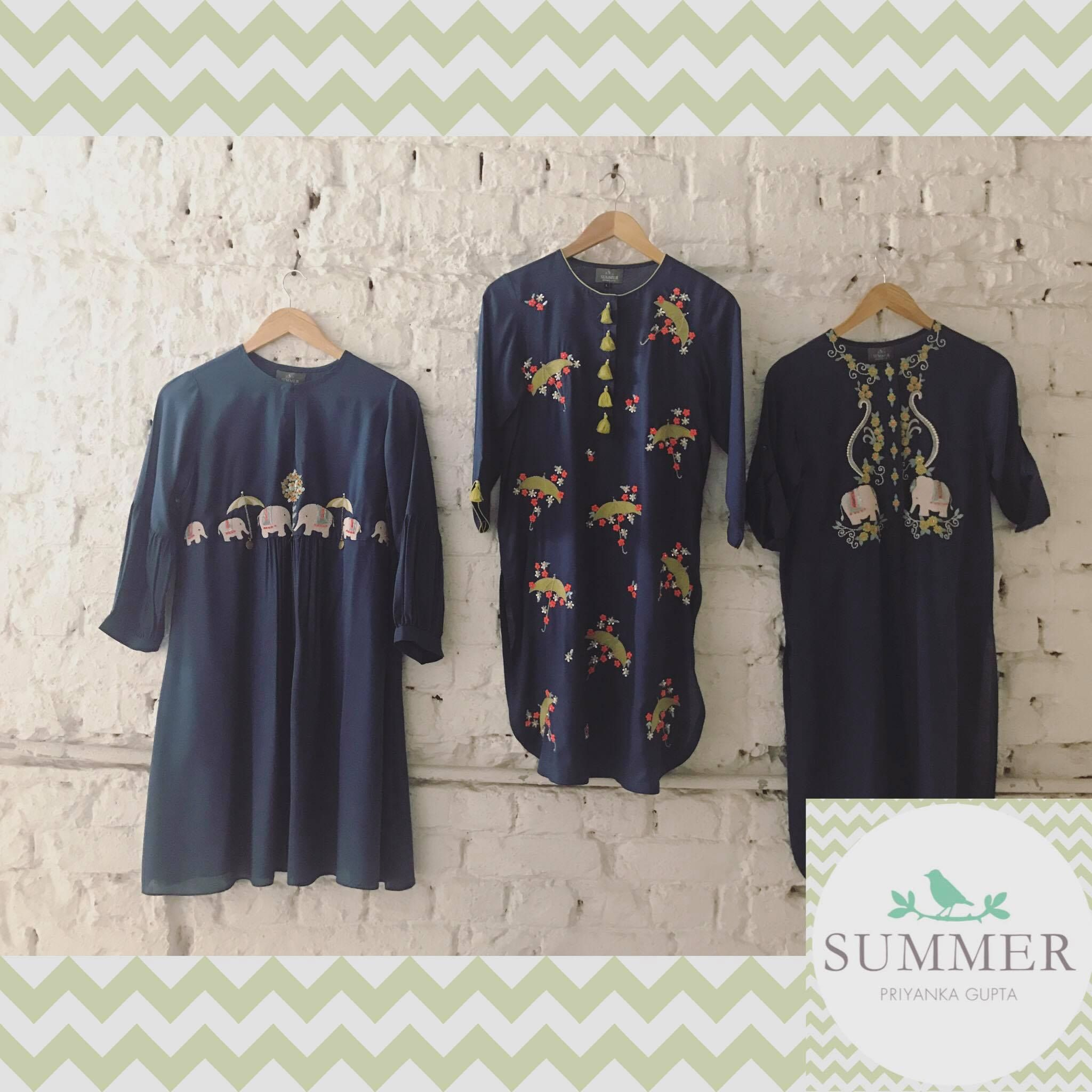 Dark Blue Tunics from summer by priynaka gupta.