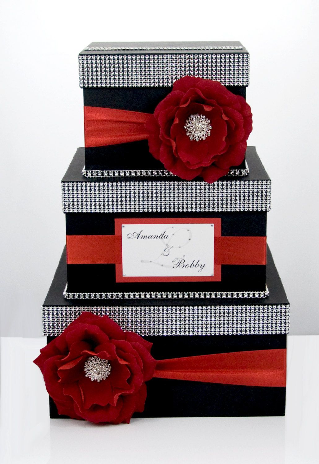 wedding gift card holders%0A Wedding Card box   Card holder   Wedding money box    tier  Personalized   Black and Red