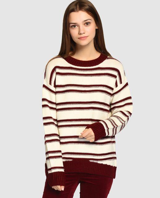 375f82d9416b Jersey de mujer Easy Wear de rayas con botones en la espalda | D ...