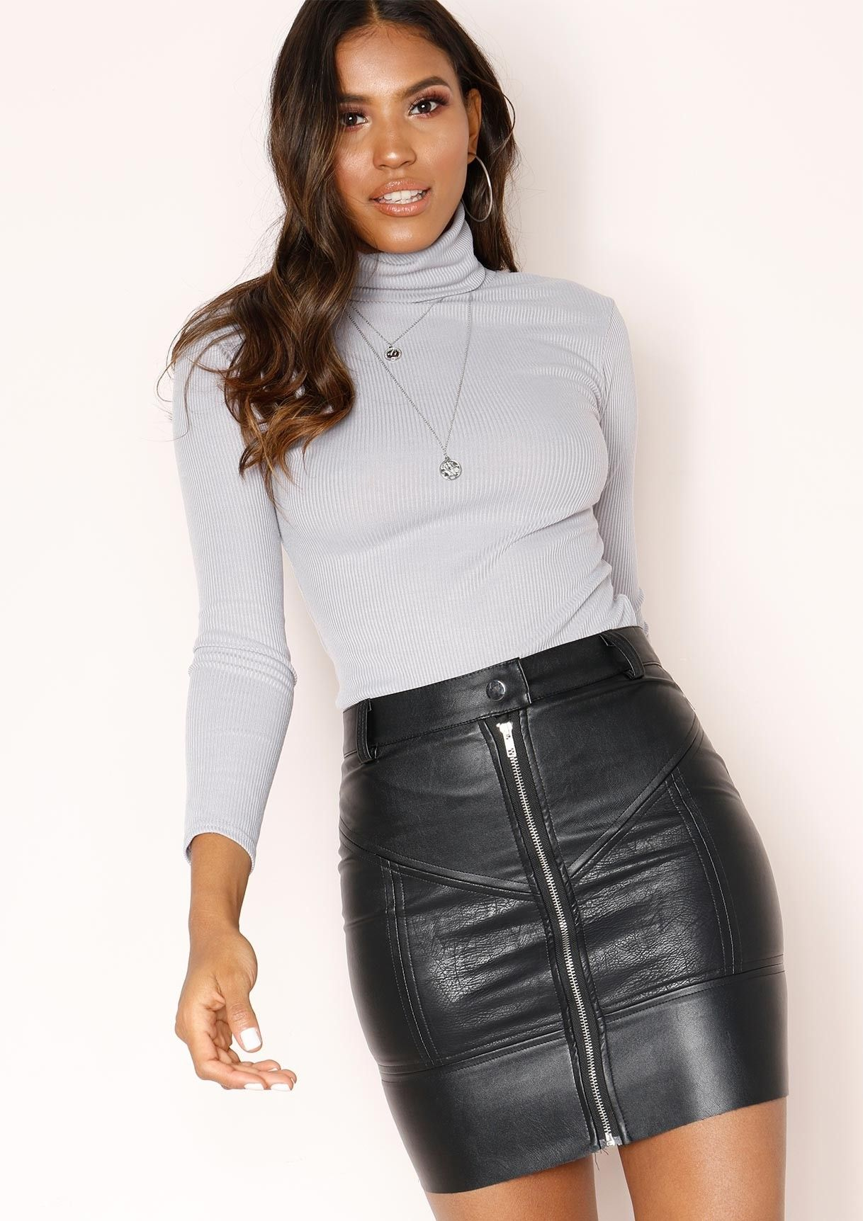 40f652af17 Missyempire - Fifi Grey Ribbed Polo Neck Top