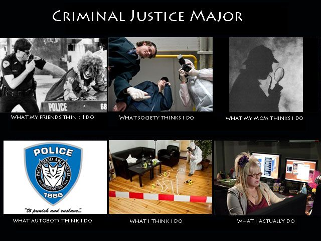 A meme showing the expected and real life of criminal justice majors.