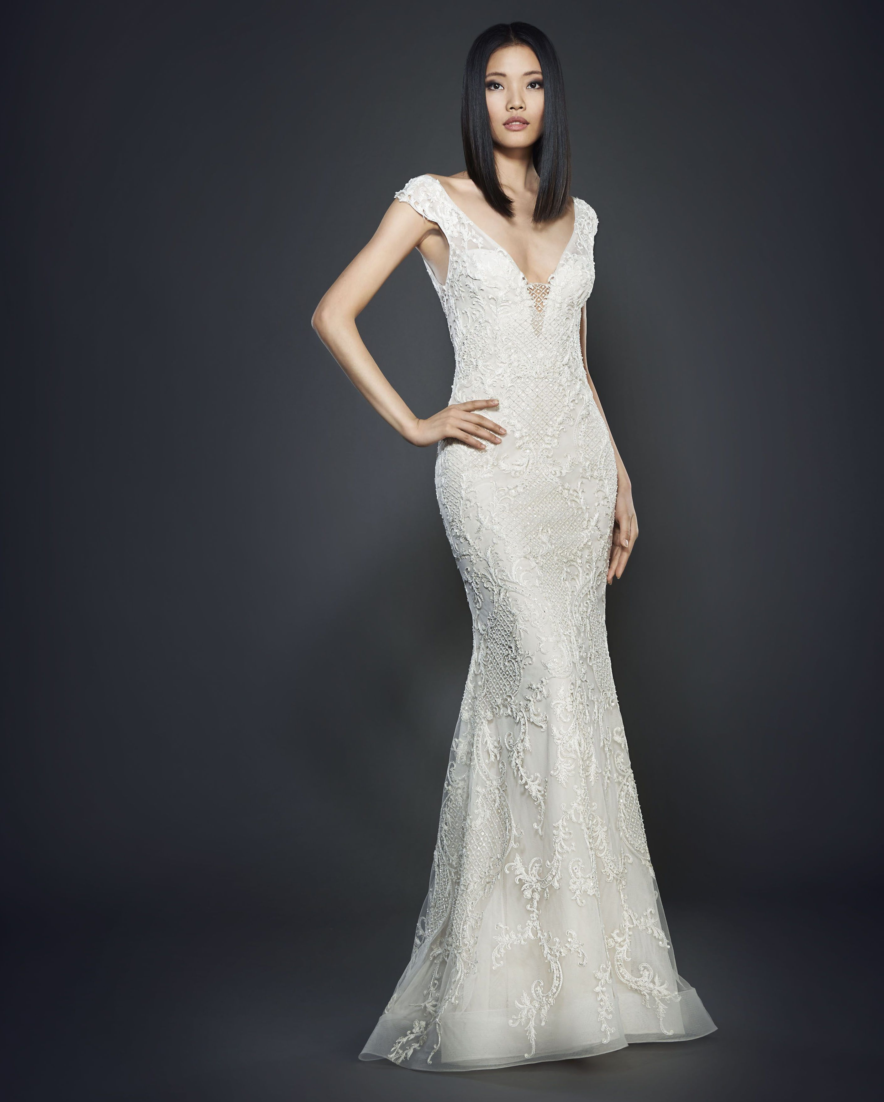 Lazaro 3707 Ivory Hand Beaded And Embroidered Net Over Cashmere Chiffon Trumpet Bridal Gown Sculpted V Neckline Front Back With Tip Of The Shoulder Cap