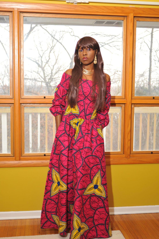 Off shoulder long sleeve ankara african print maxi dress by