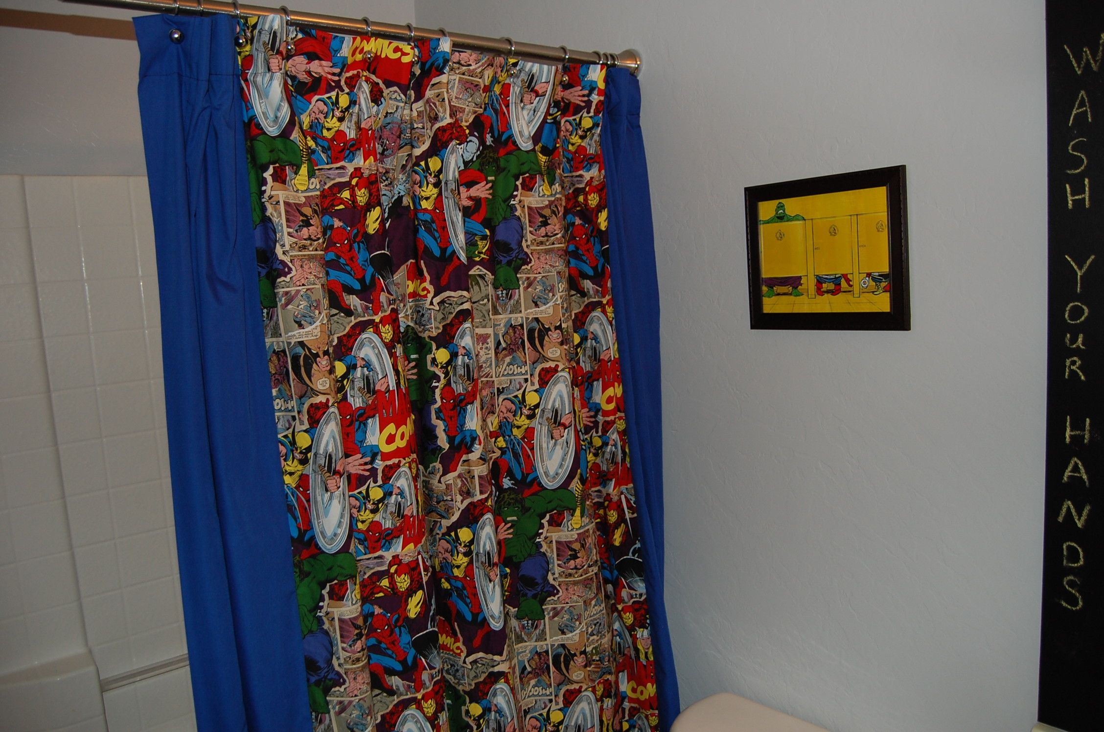 Diy Marvel Comic Fabric Shower Curtain Bathrooms
