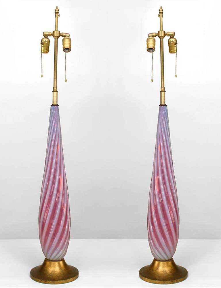 Pin by judy freeman on murano glass pinterest murano glass pair of italian venetian murano red and white murano glass table lamps with swirl design and mounted on a round gilt wood base aloadofball Image collections