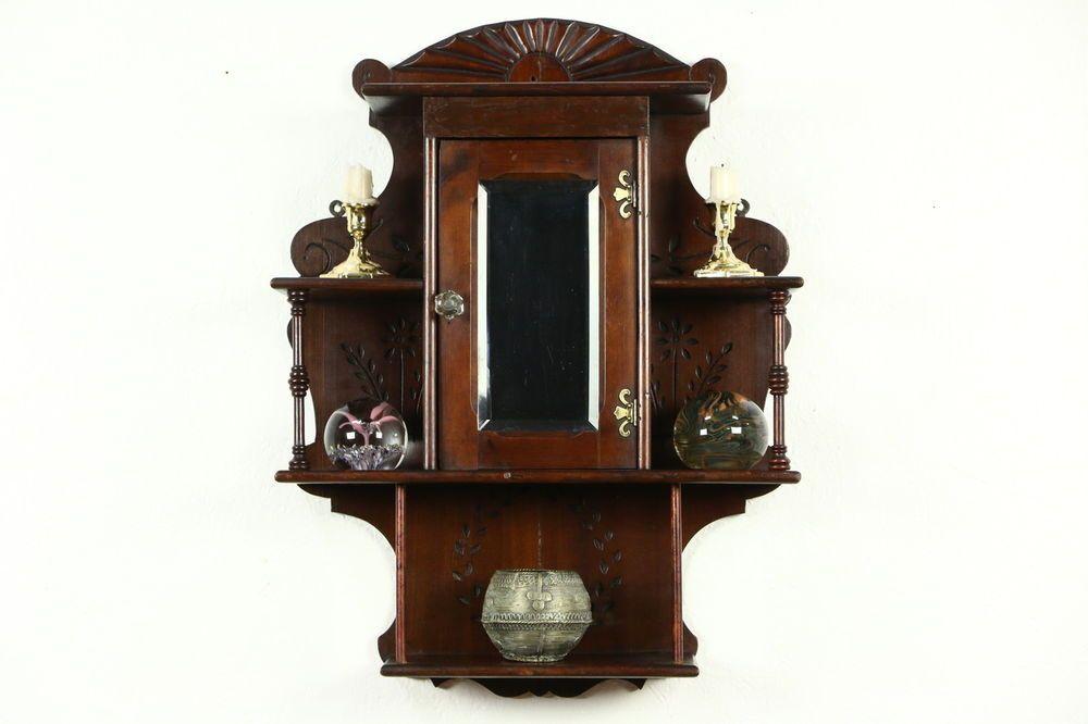 victorian eastlake antique medicine chest or hanging cabinet rh pinterest com