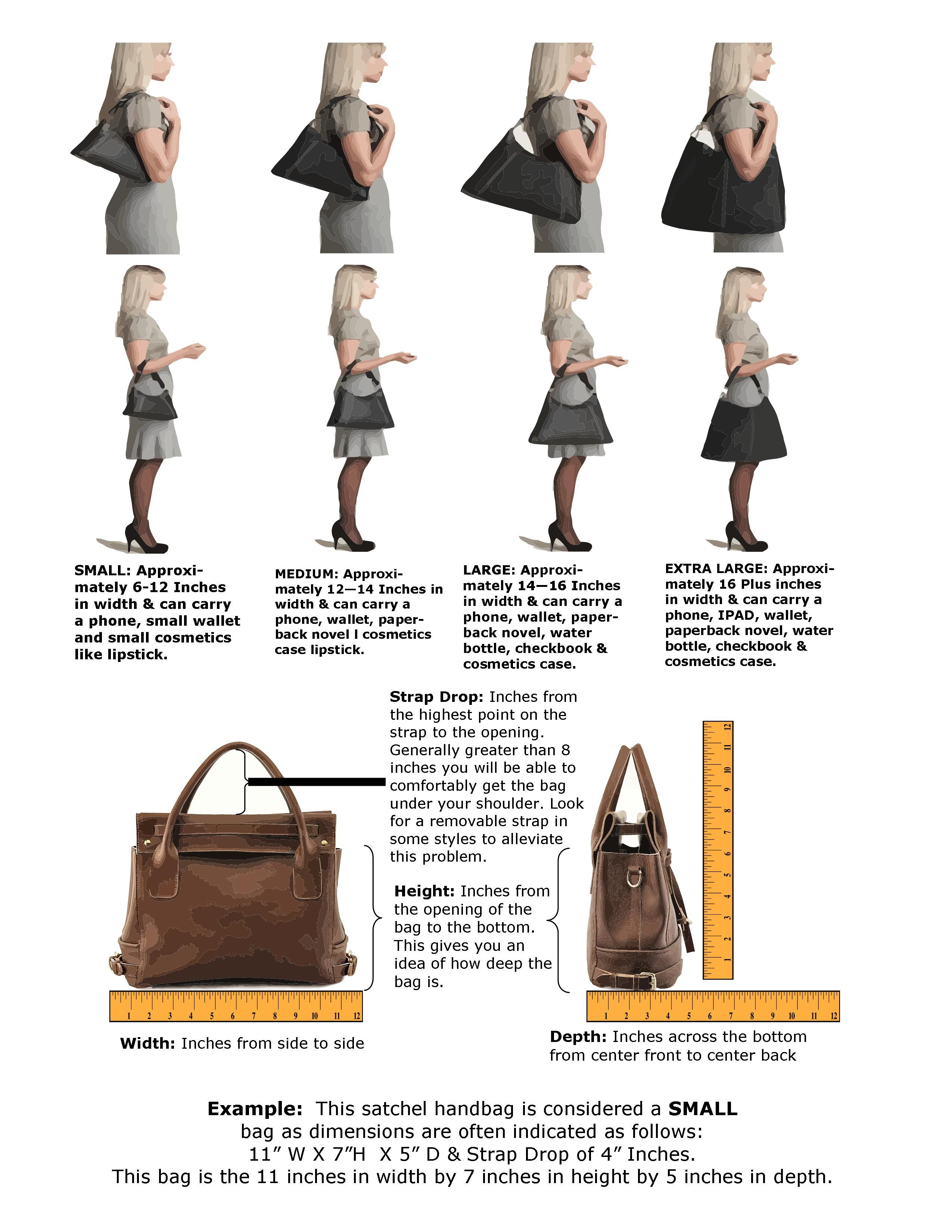 a9f8a048e8 Women s Handbag Sizing Dimension Measurement Guide Chart