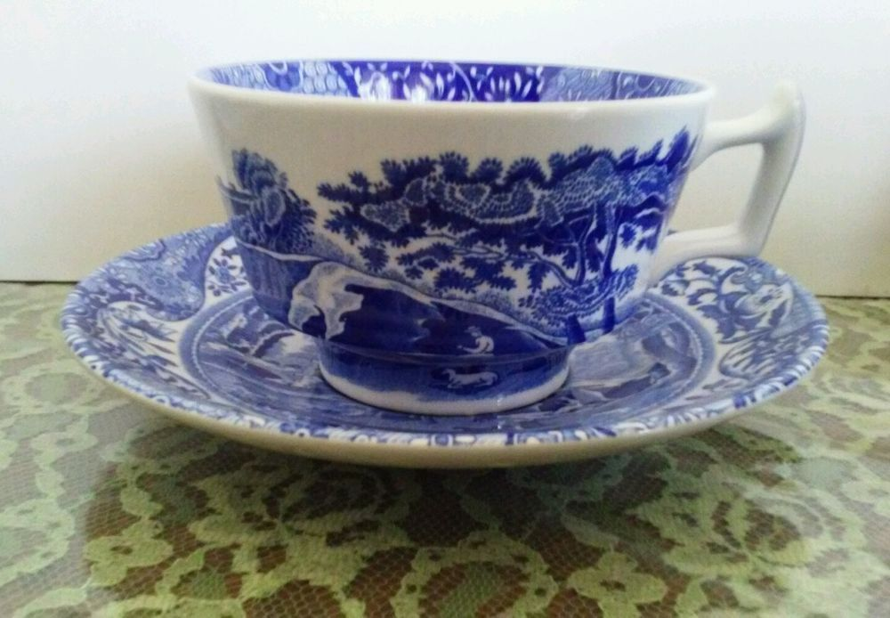 Spode Blue Italian Tea Cup Saucer Made In England