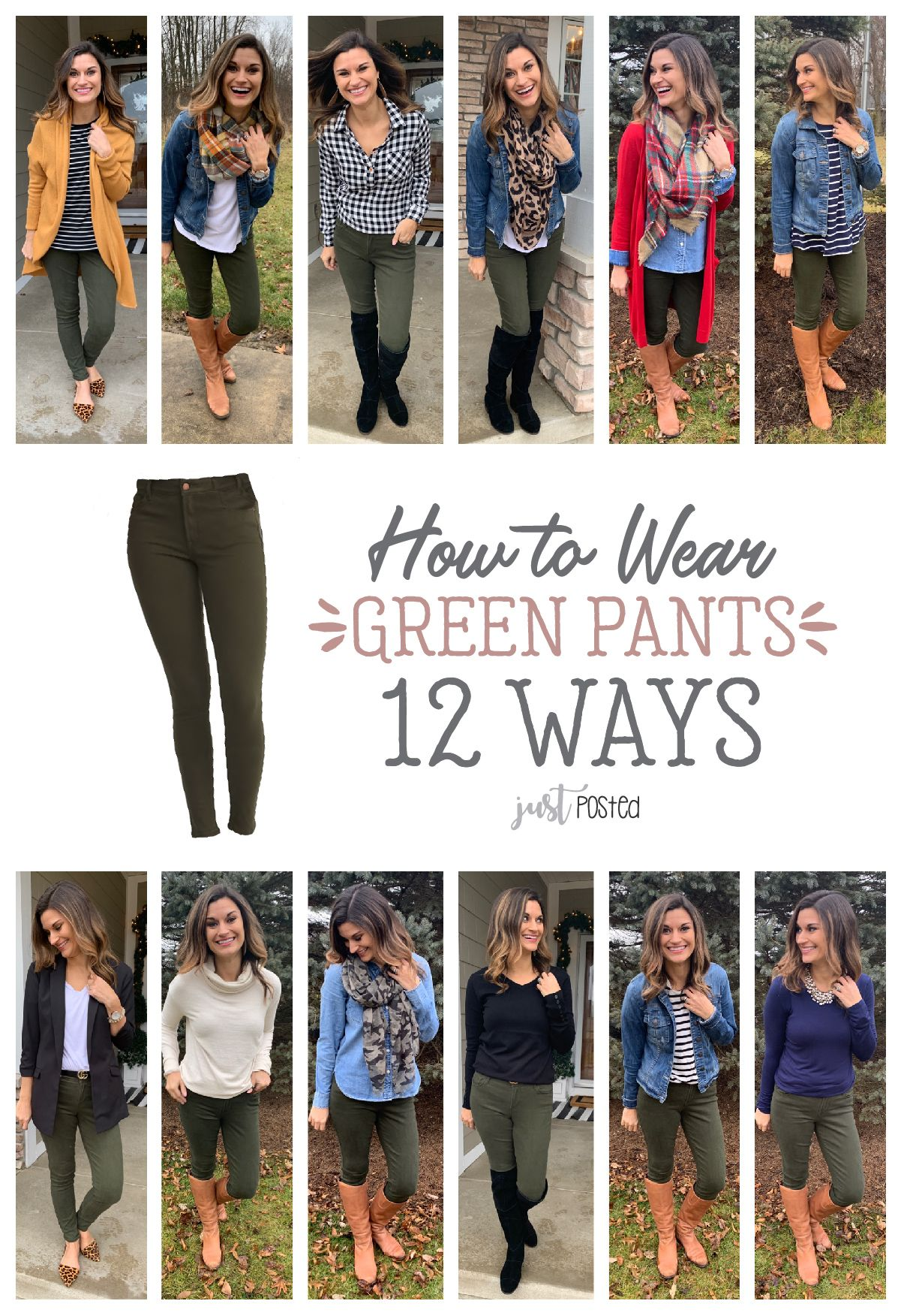 How to wear green pants 12 different ways!  #howtowear