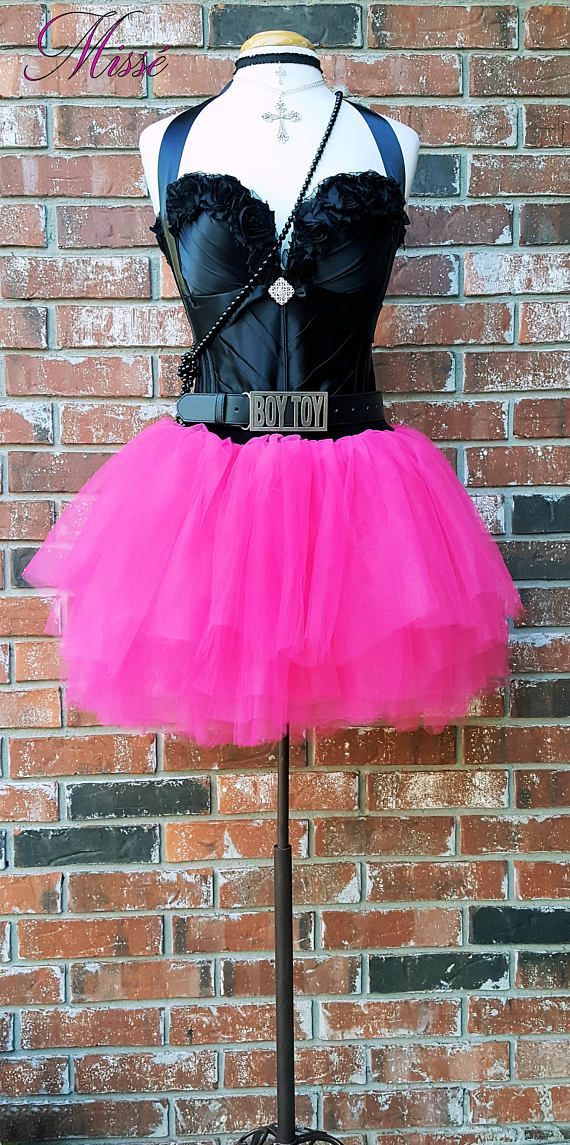 80s Madonna Costume w Accessories~ 80\'s Prom Dress~ Black Leather ...