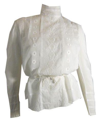 White Lawn Cotton Embroidered Gibson Girl Blouse circa Early 1900s - Dorothea's Closet Vintage