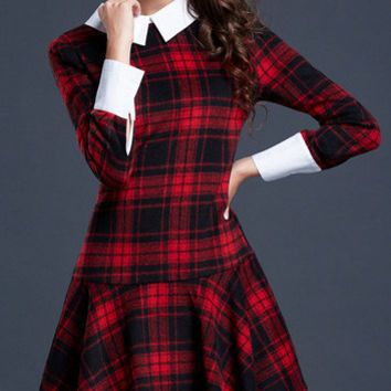 Shop Collar Skater Dress on Wanelo