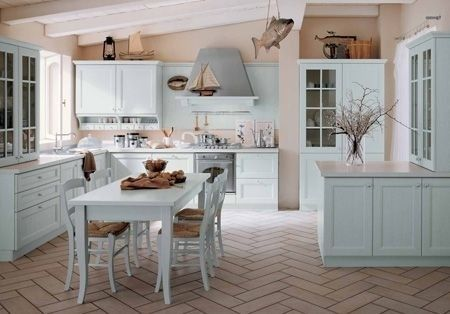 Cucina Newport di Veneta Cucine | Blue green kitchen, Beige walls ...