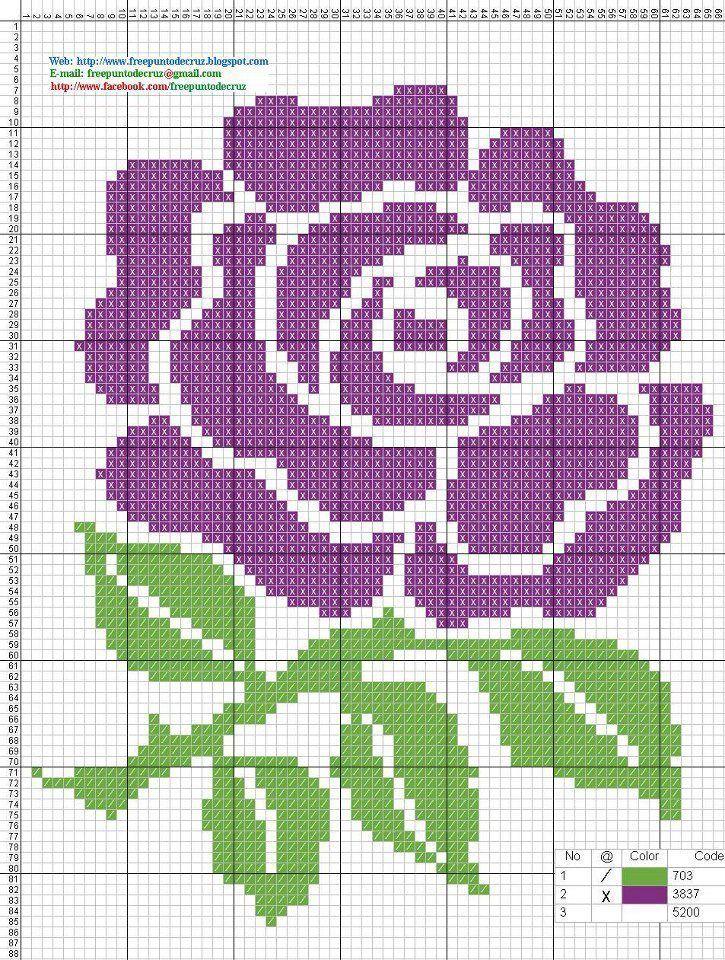 flower pixel art pinterest point de croix points et croix. Black Bedroom Furniture Sets. Home Design Ideas