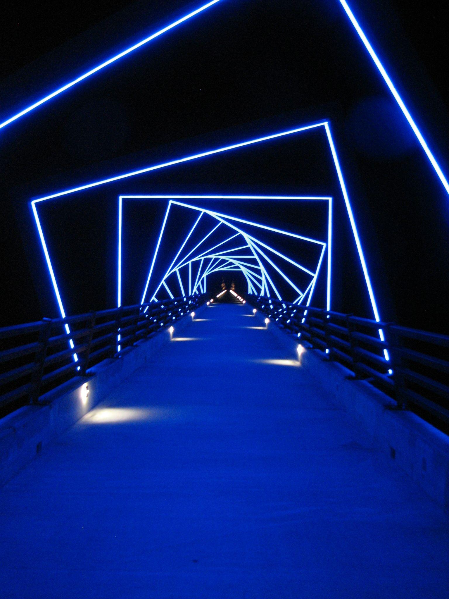 Tunnel of NEON lights  Outdoors  Blue aesthetic Light art Lighting