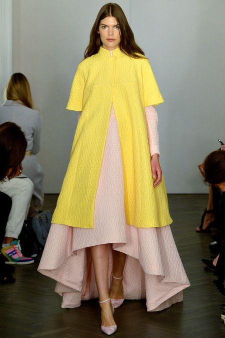 #EmiliaWickstead #LFW S/S 2014 - Blush & yellow gorgeous dress and coat
