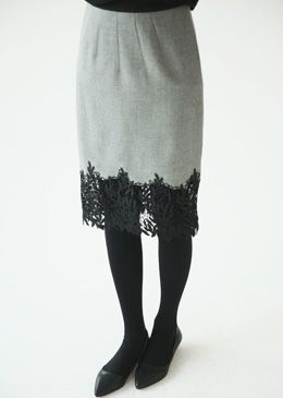Two-Tone Laced Hem Skirt