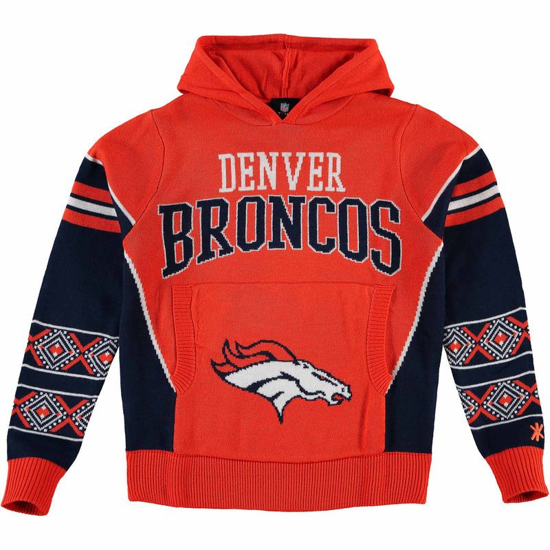 outlet store dc279 f8e5f Denver Broncos Youth Big Logo Hooded Ugly Sweater - Orange ...