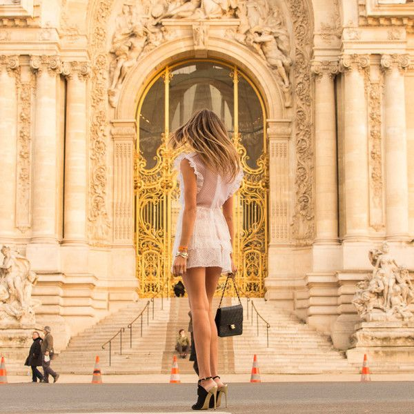 """Paris Couture - """"First stop: Paris for the couture shows. Here I am wearing a little Francesco Scognamiglio number in front of the golden gates of the Palace, ready for the whirlwind."""""""