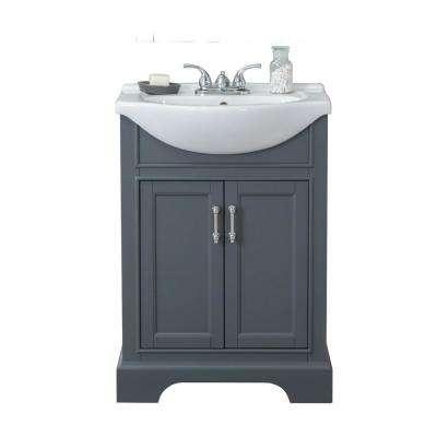 24 In W X 17 In D X 34 In H Bath Vanity In Gray With Ceramic