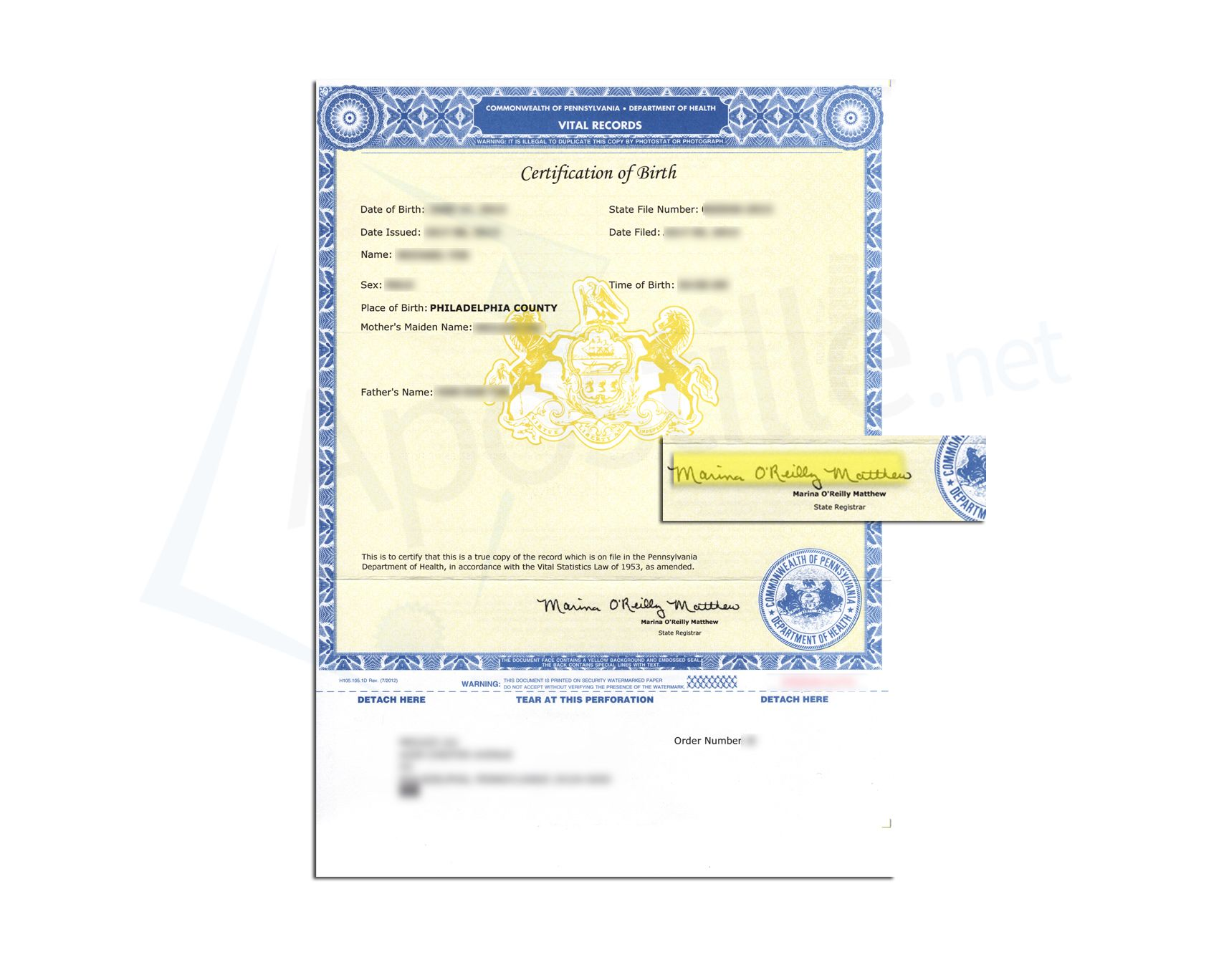 State of pennsylvania certification of birth issued by marina o state of pennsylvania certification of birth issued by marina oreilly matthew state registrar aiddatafo Images