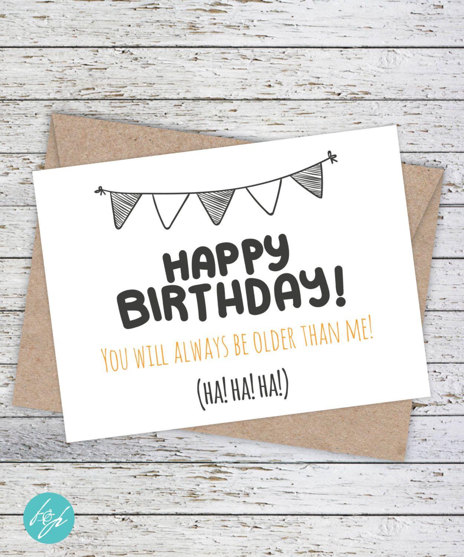 Birthday Card / Funny Older Birthday Card / Older Sister