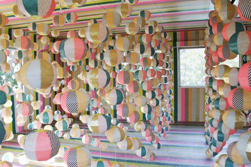 Washi tape art installation.