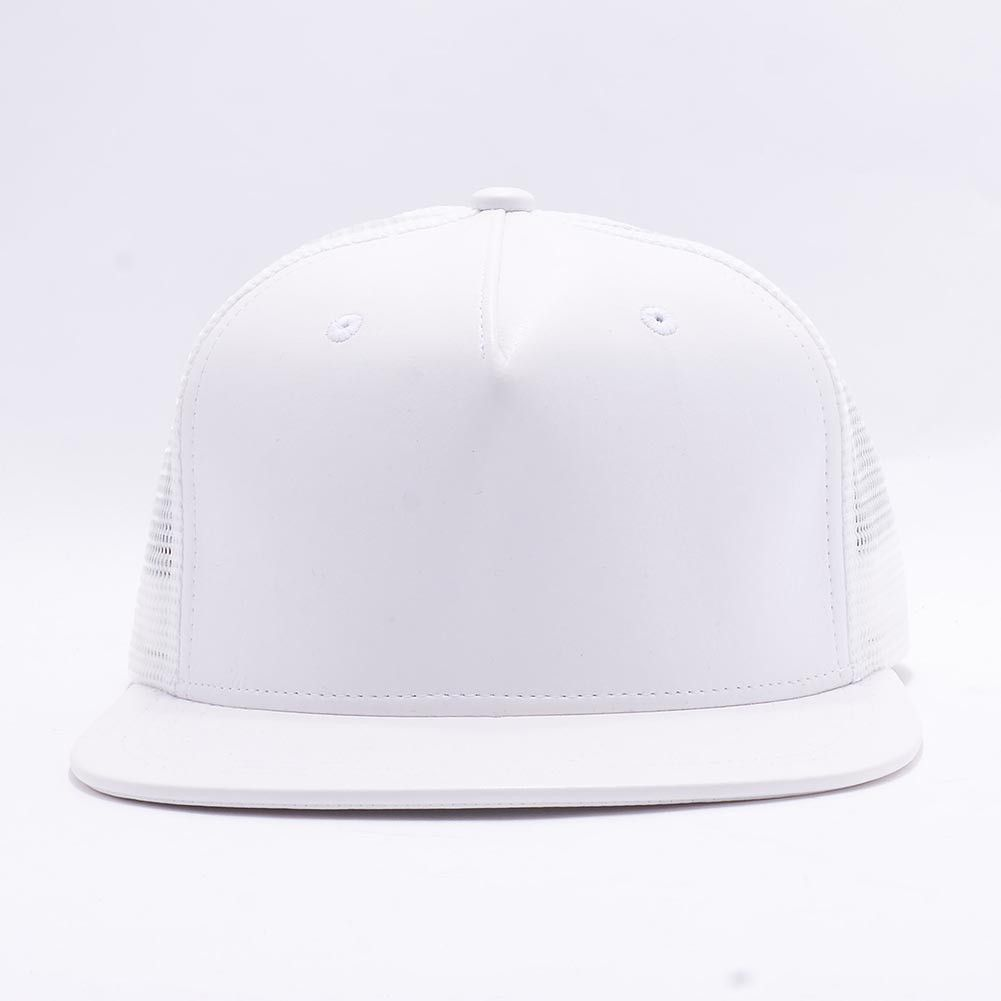 823aa6177 Plain 5 panel Leather Trucker Flat Bill Snapback Hat [White] | I ...