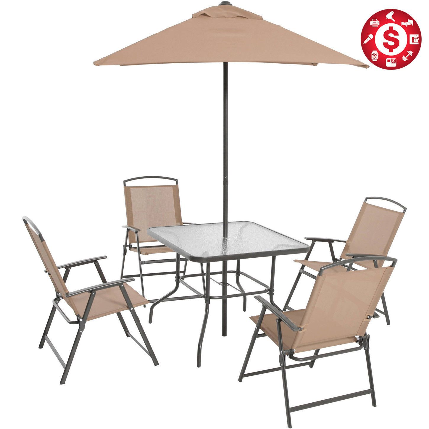 6 Piece Patio Dining Set Folding Table Chairs Umbrella Outdoor