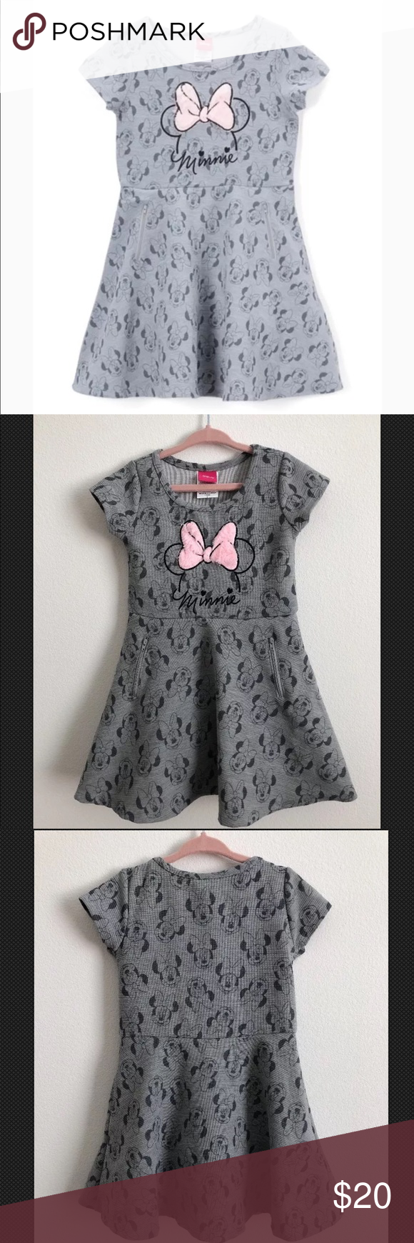 Minnie mouse gray pink silhouette dress size t