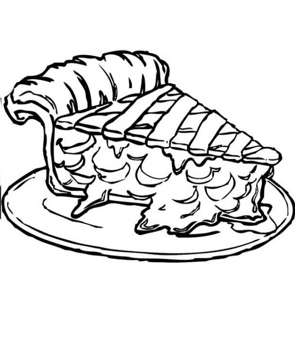 Piece Apple Pie Coloring Pages Food Coloring Pages