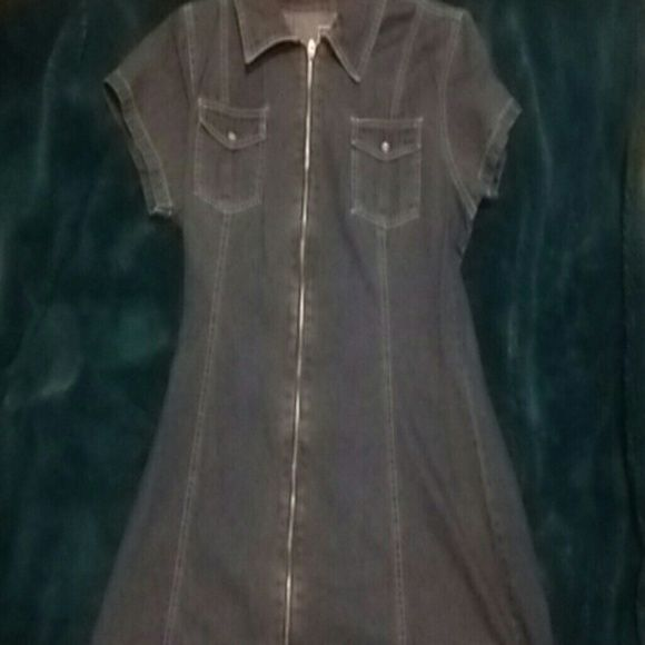 Dress Short sleves zips pockets collar some wear blue jean got lots every one loved it and so do I not small anymore time to pass it on. Dresses Mini