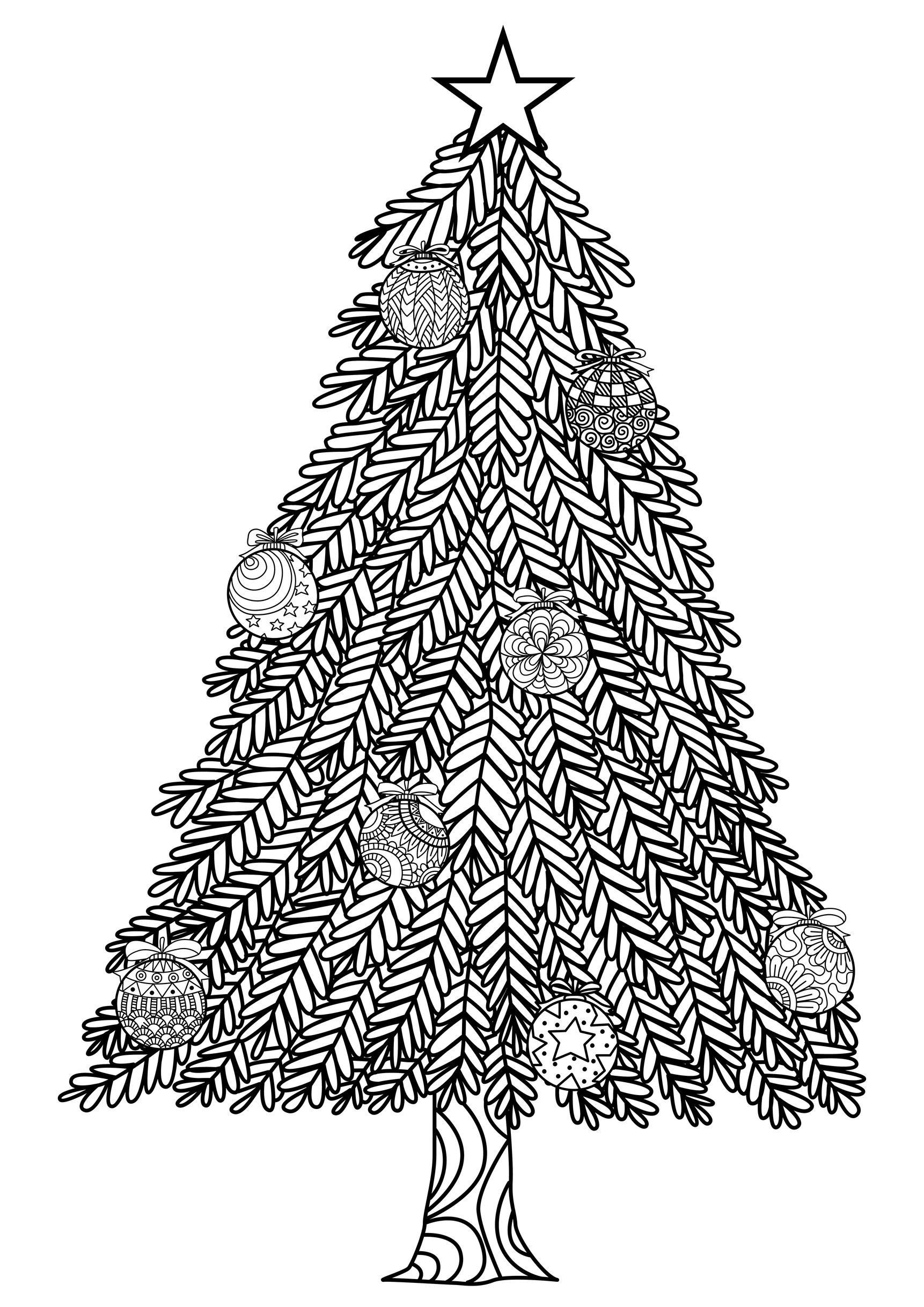 christmas tree zentangle style with christmas balls and a big star in the top from - Christmas Trees Coloring Pages