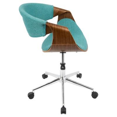 curvo mid century modern office chair walnut and teal blue rh pinterest ca