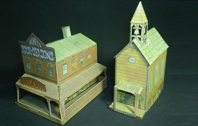 Old West City Diorama Paper Model - Free Downloadable The -8148