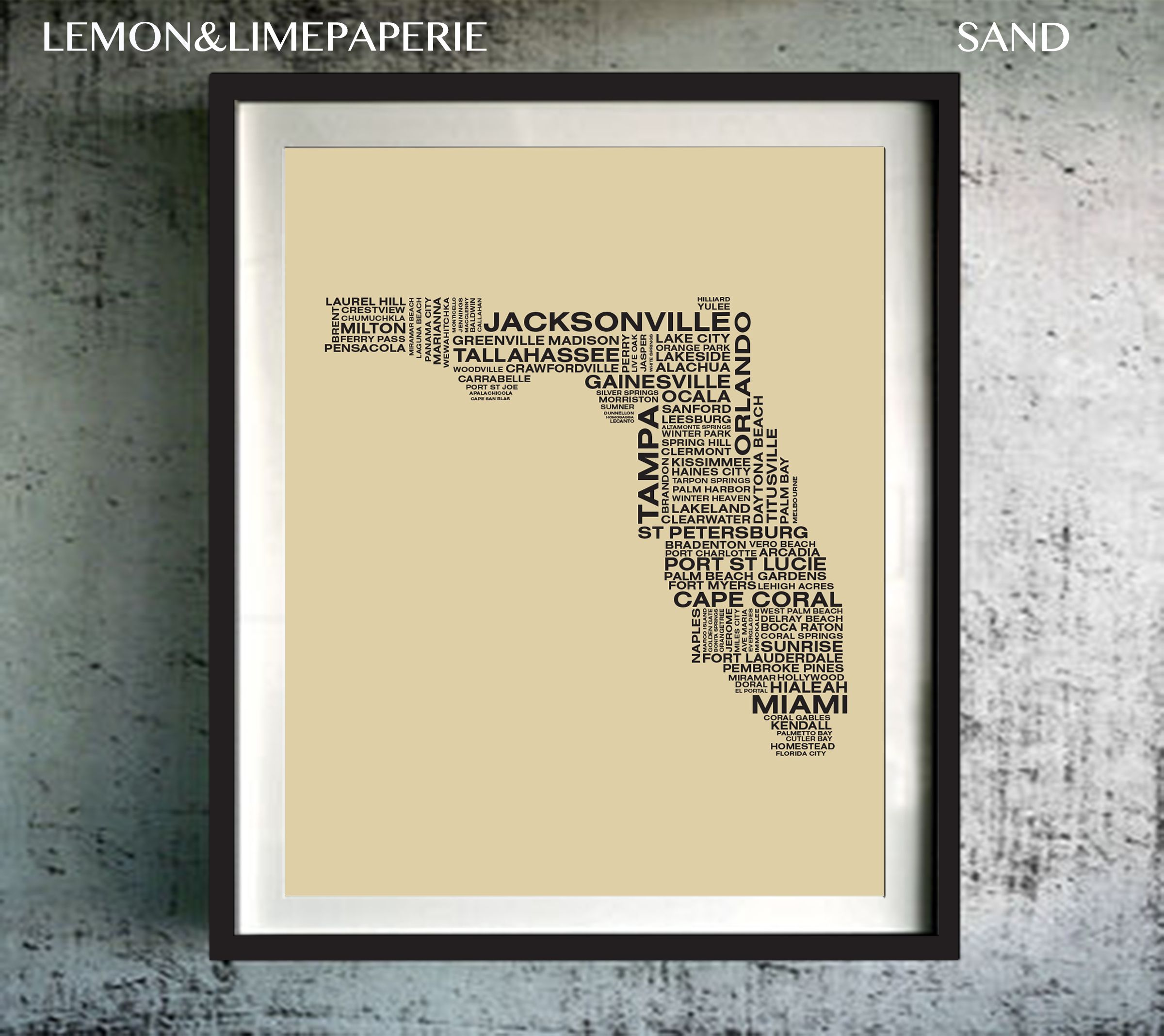 Florida Typography Map Print, Florida Art Print, Florida Wall Art ...