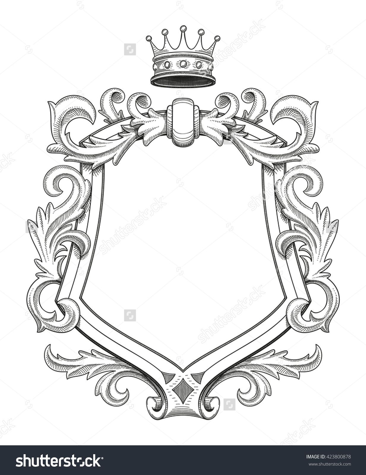 Blank Baroque Shield With Floral Ornament And Stroked