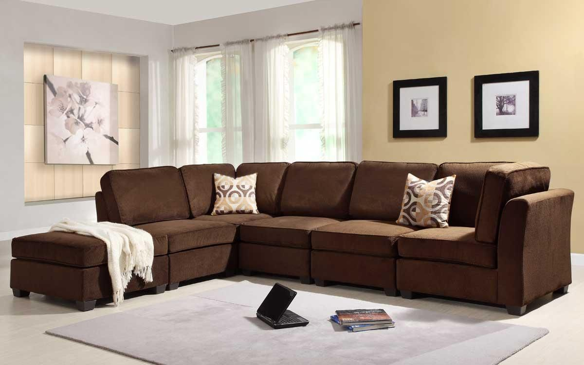 Elegance Brown Sofa Set In Modern Living Room With Frame On The Beige  Painting Wall Also