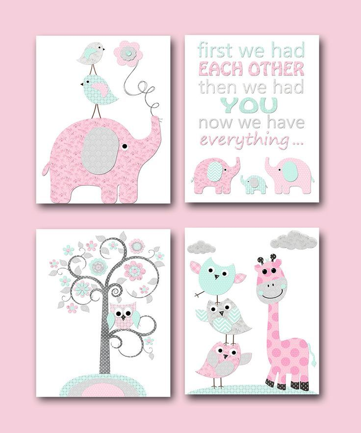 Baby Girl Nursery Quotes Kids Wall Art Kids Art Children Wall Art Baby Room  Decor Giraffe Elephant Wall Decor Set Of 4 Pink Grey Mint By Artbynataera  On ...