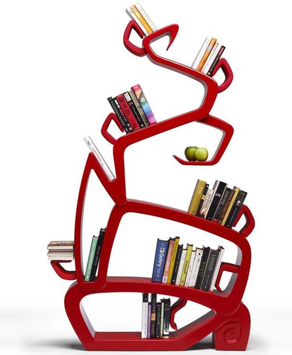 Cool Bookshelves antique freestanding bookshelf design idea in eye-catching red